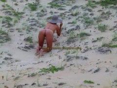 Amadora casada se exibindo nua na praia