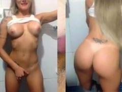 Video Amador Sensacional Dessa Loirinha Amadora Tocando Uma Para Namorado em Banheiro