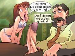 Quadrinhos da Família Sacana – A Filhinha Gostosa e Safada Deixou o Papai de Pau Enorme e Duro!