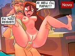 Desenhos Proibidos de Pai e Filha Fazendo Sexo Anal! O Papai Safado Ficou de Pau Duro e Enfiou no Cuzinho da Filha Peladinha!