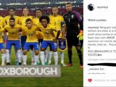 Neymar postando mensagem de apoio aos companheiros depois de ficar na vida mansa e putaria
