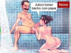 """Animações de Incesto da """"Família Sacana"""": Filha Rabuda e Safadinha Tomando Banho de Chuveiro Com o Papai da Rola Grande!"""