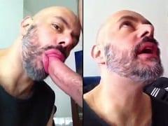 Careca Barbudo Grava um Vídeo Pornô Gay Chupando a Piroca do Amigo Ativo e Abre a Boquinha Para Receber Leite – RS